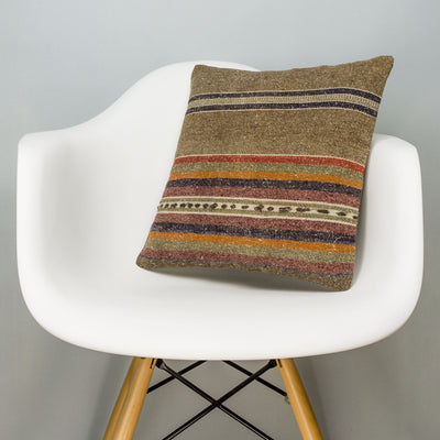 Striped Brown Kilim Pillow Cover 16x16 2811 - kilimpillowstore