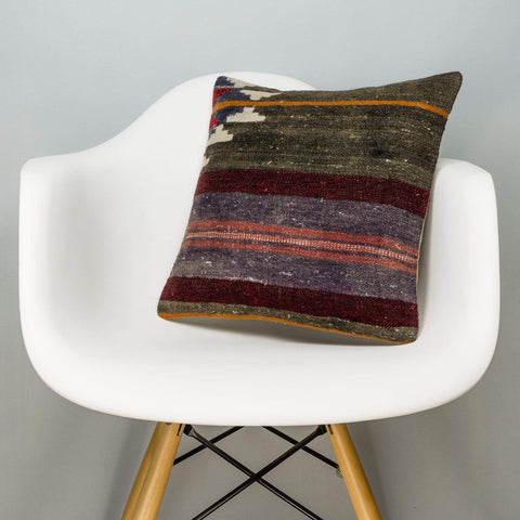 Striped Brown Kilim Pillow Cover 16x16 2819 - kilimpillowstore