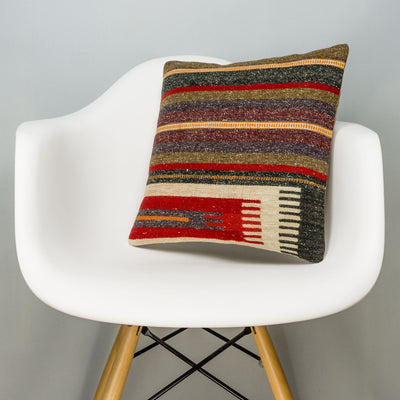Striped Brown Kilim Pillow Cover 16x16 2823 - kilimpillowstore