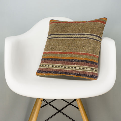 Striped Brown Kilim Pillow Cover 16x16 2832 - kilimpillowstore