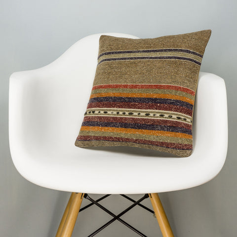 Striped Brown Kilim Pillow Cover 16x16 2838 - kilimpillowstore