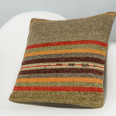 Striped Brown Kilim Pillow Cover 16x16 2843 - kilimpillowstore