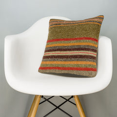 Striped Brown Kilim Pillow Cover 16x16 2844 - kilimpillowstore