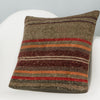 Striped Brown Kilim Pillow Cover 16x16 2847 - kilimpillowstore
