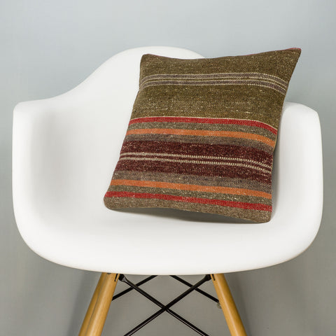Striped Brown Kilim Pillow Cover 16x16 2849 - kilimpillowstore