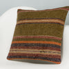Striped Brown Kilim Pillow Cover 16x16 2851 - kilimpillowstore