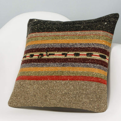Striped Brown Kilim Pillow Cover 16x16 2854 - kilimpillowstore