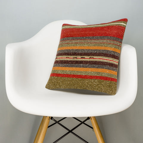 Striped Brown Kilim Pillow Cover 16x16 2859 - kilimpillowstore