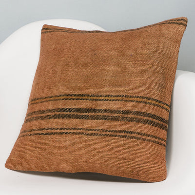 Striped Brown Kilim Pillow Cover 16x16 2908 - kilimpillowstore