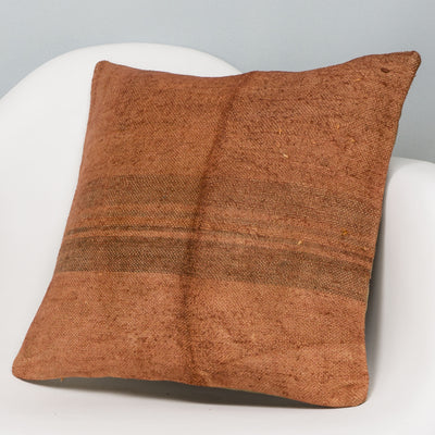 Striped Brown Kilim Pillow Cover 16x16 2950 - kilimpillowstore