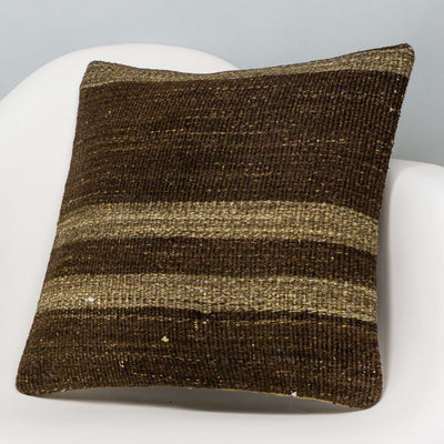 Striped Brown Kilim Pillow Cover 16x16 2974 - kilimpillowstore