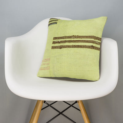 Striped Green Kilim Pillow Cover 16x16 2963 - kilimpillowstore