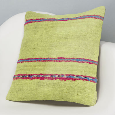 Striped Green Kilim Pillow Cover 16x16 2969 - kilimpillowstore