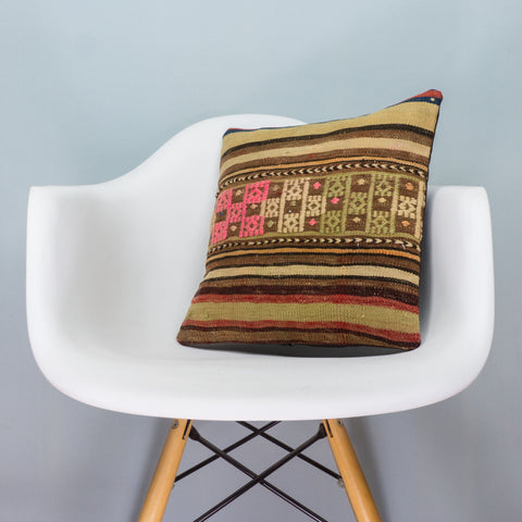 Striped Green Kilim Pillow Cover 16x16 3544 - kilimpillowstore  - 1