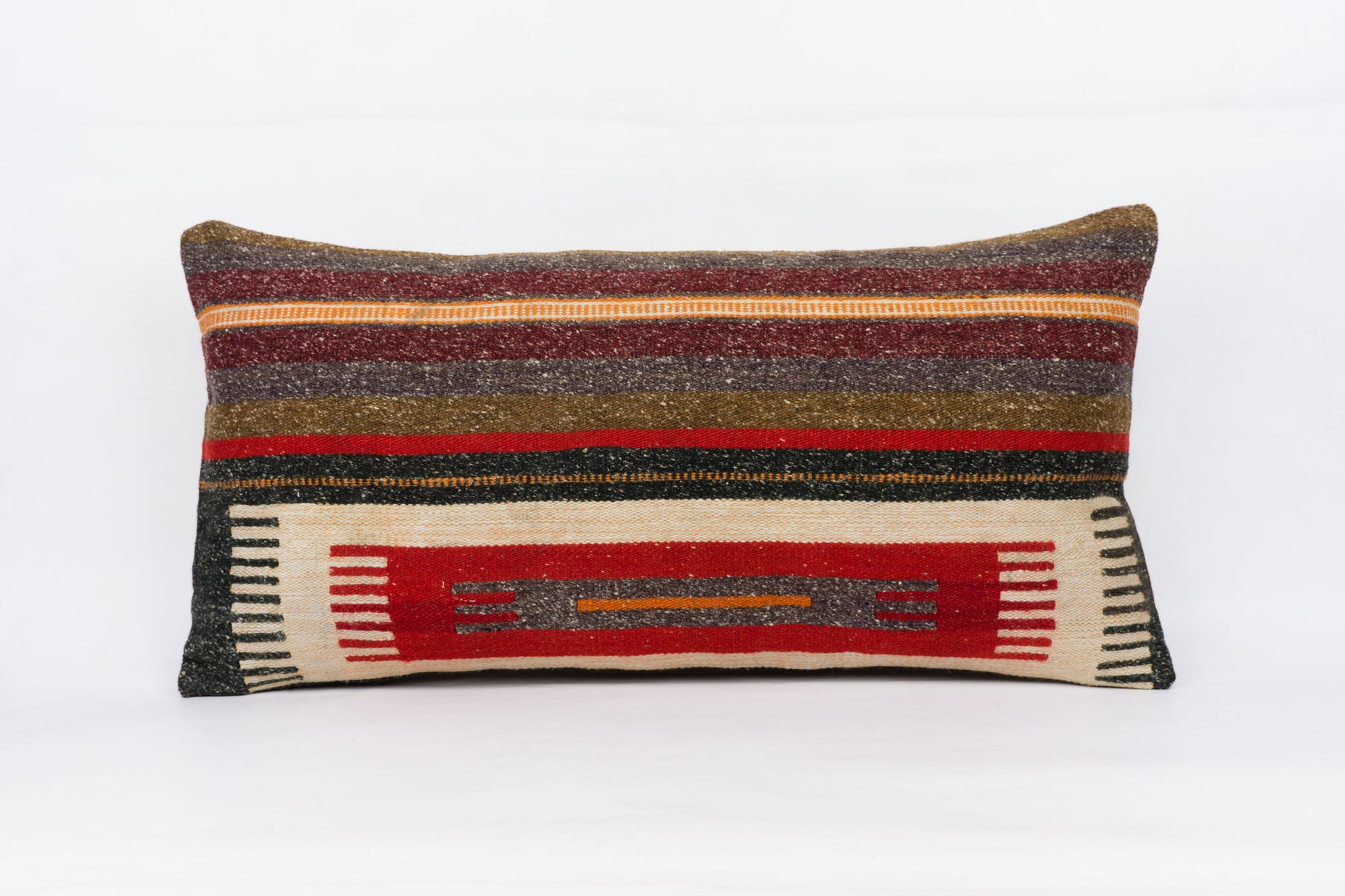 Striped Multi Color Kilim Pillow Cover 12x24 4045