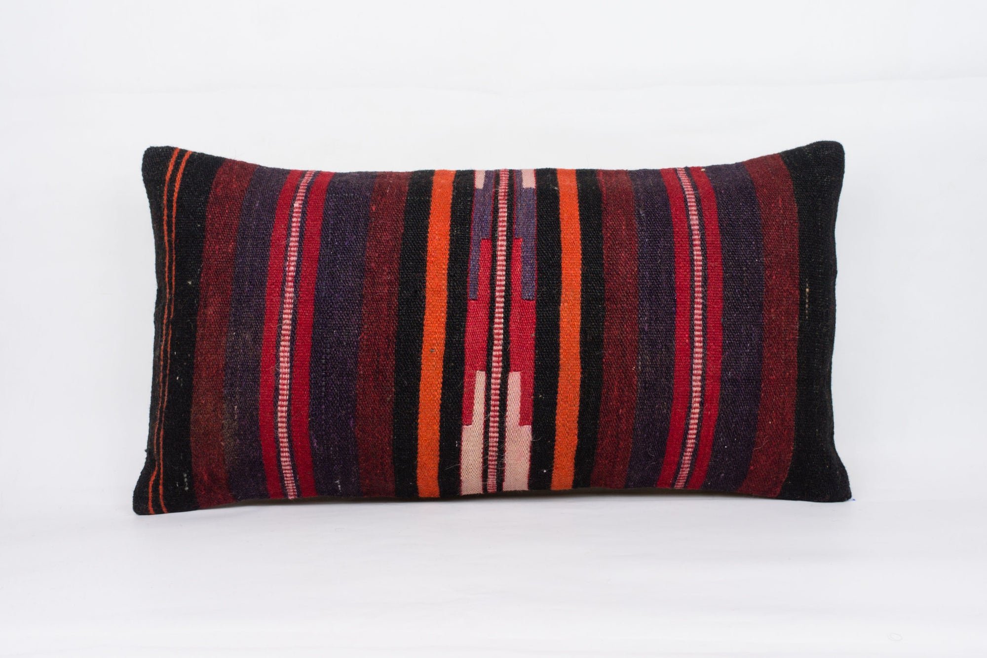 Striped Multi Color Kilim Pillow Cover 12x24 4065