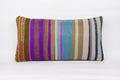 Striped Multi Color Kilim Pillow Cover 12x24 4343