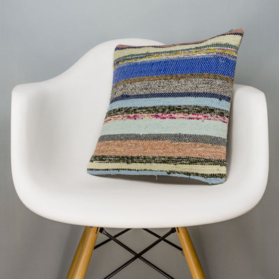 Striped Multi Color Kilim Pillow Cover 16x16 3042 - kilimpillowstore
