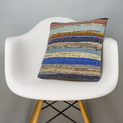 Striped Multi Color Kilim Pillow Cover 16x16 3043 - kilimpillowstore