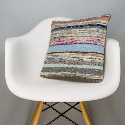 Striped Multi Color Kilim Pillow Cover 16x16 3044 - kilimpillowstore