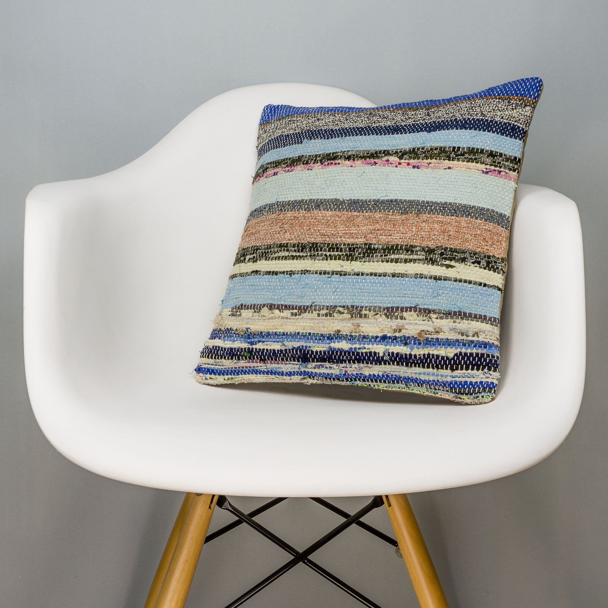 Striped Multi Color Kilim Pillow Cover 16x16 3053 - kilimpillowstore