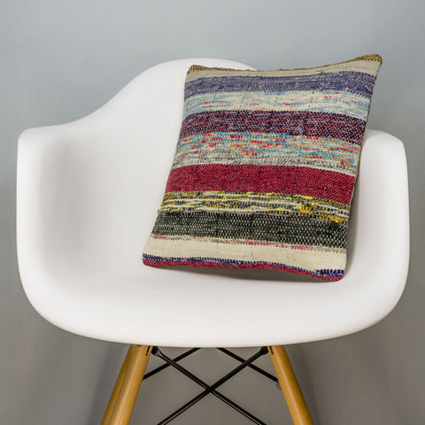 Striped Multi Color Kilim Pillow Cover 16x16 3063 - kilimpillowstore