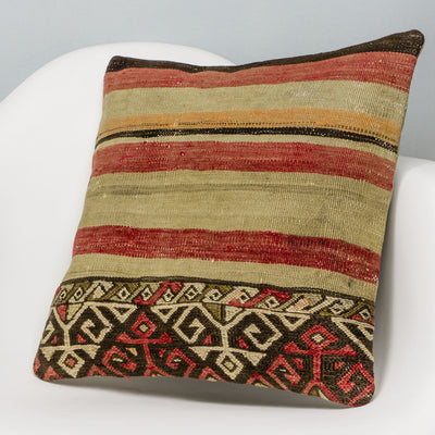 Striped Multi Color Kilim Pillow Cover 16x16 3111 - kilimpillowstore
