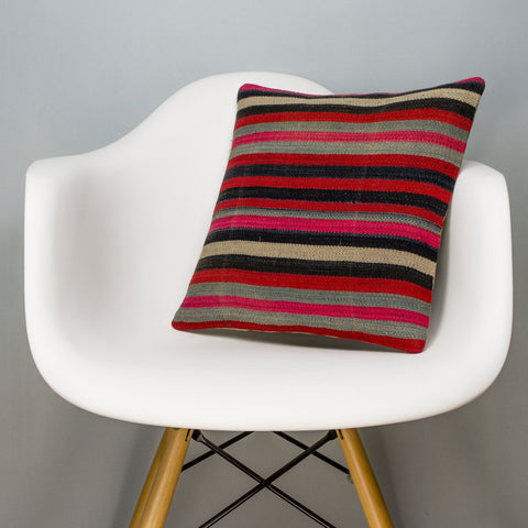 Striped Multi Color Kilim Pillow Cover 16x16 3183 - kilimpillowstore