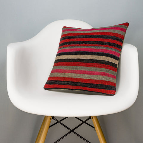 Striped Multi Color Kilim Pillow Cover 16x16 3189 - kilimpillowstore