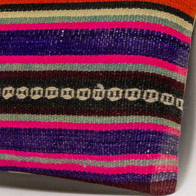 Striped Multi Color Kilim Pillow Cover 16x16 3198 - kilimpillowstore