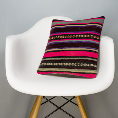 Striped Multi Color Kilim Pillow Cover 16x16 3207 - kilimpillowstore