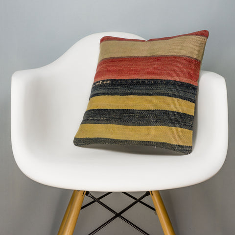 Striped Multi Color Kilim Pillow Cover 16x16 3214 - kilimpillowstore