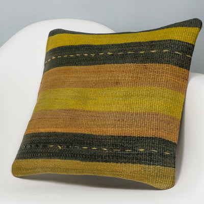 Striped Multi Color Kilim Pillow Cover 16x16 3216 - kilimpillowstore