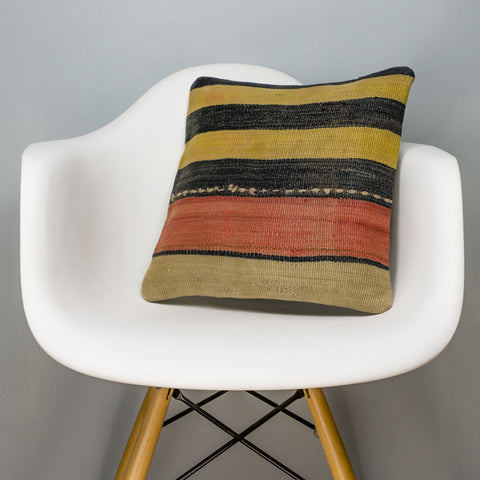 Striped Multi Color Kilim Pillow Cover 16x16 3230 - kilimpillowstore