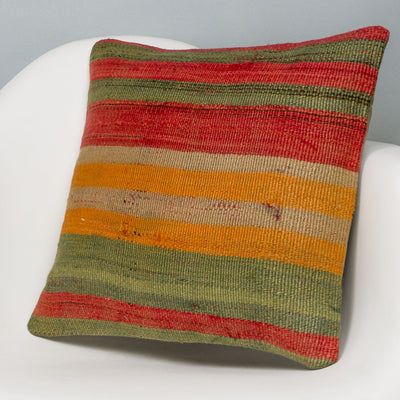 Striped Multi Color Kilim Pillow Cover 16x16 3241 - kilimpillowstore