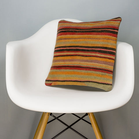 Striped Multi Color Kilim Pillow Cover 16x16 3247 - kilimpillowstore
