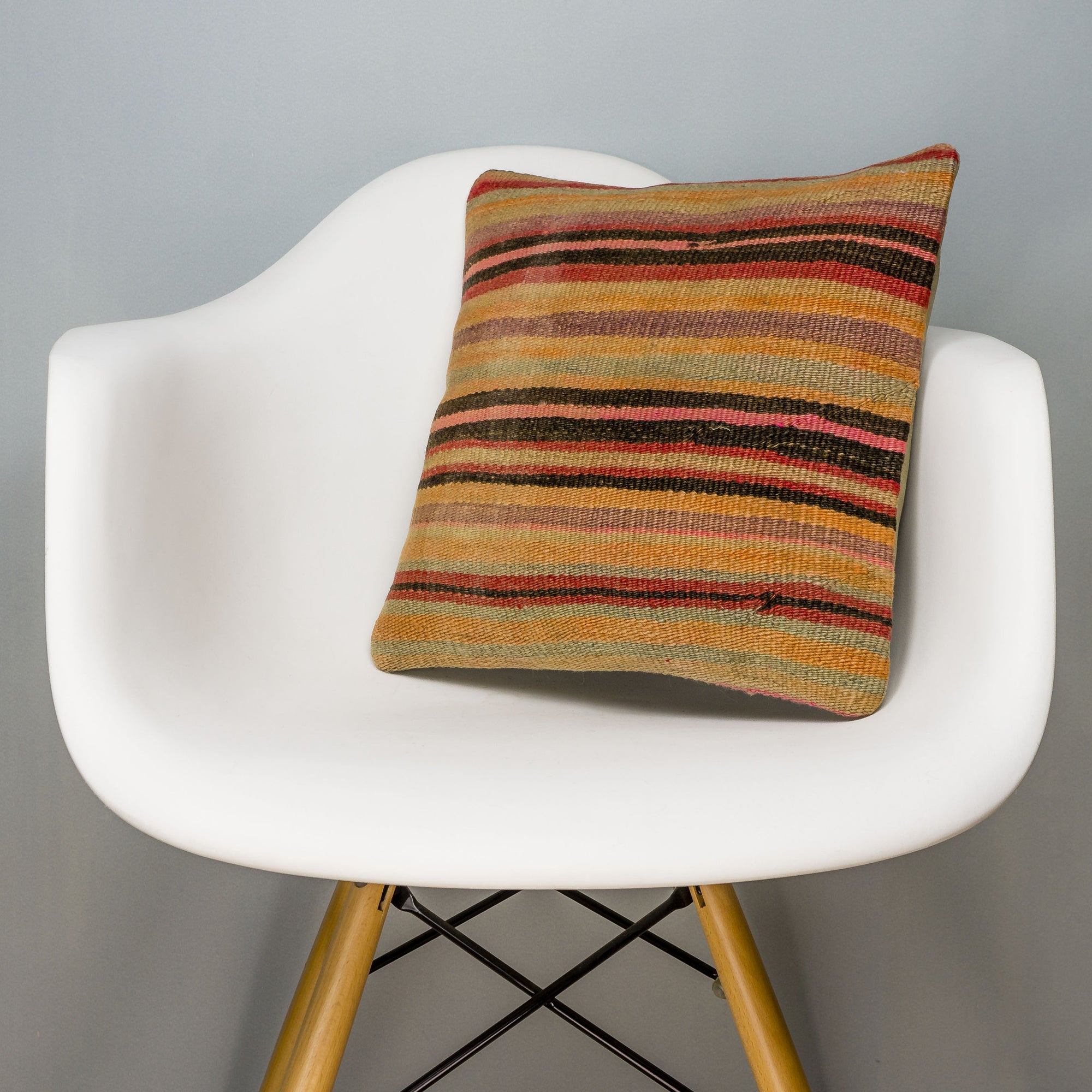 Striped Multi Color Kilim Pillow Cover 16x16 3248 - kilimpillowstore