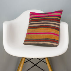Striped Multi Color Kilim Pillow Cover 16x16 3252 - kilimpillowstore