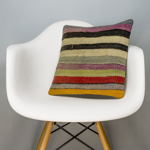 Striped Multi Color Kilim Pillow Cover 16x16 3260 - kilimpillowstore
