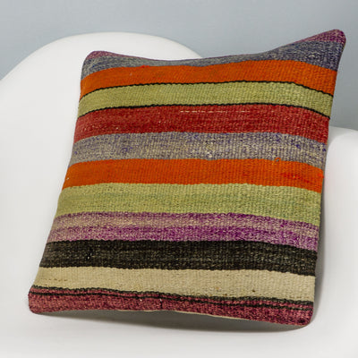 Striped Multi Color Kilim Pillow Cover 16x16 3262 - kilimpillowstore