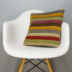Striped Multi Color Kilim Pillow Cover 16x16 3266 - kilimpillowstore