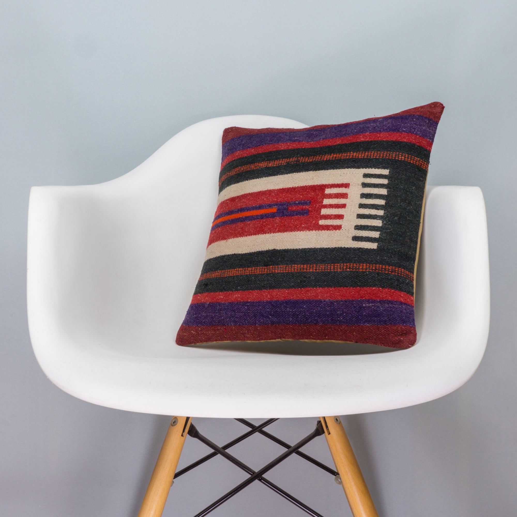 Striped Multi Color Kilim Pillow Cover 16x16 3446