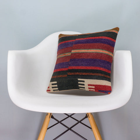 Striped Multi Color Kilim Pillow Cover 16x16 3453 - kilimpillowstore  - 1