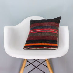 Striped Multi Color Kilim Pillow Cover 16x16 3455 - kilimpillowstore  - 1