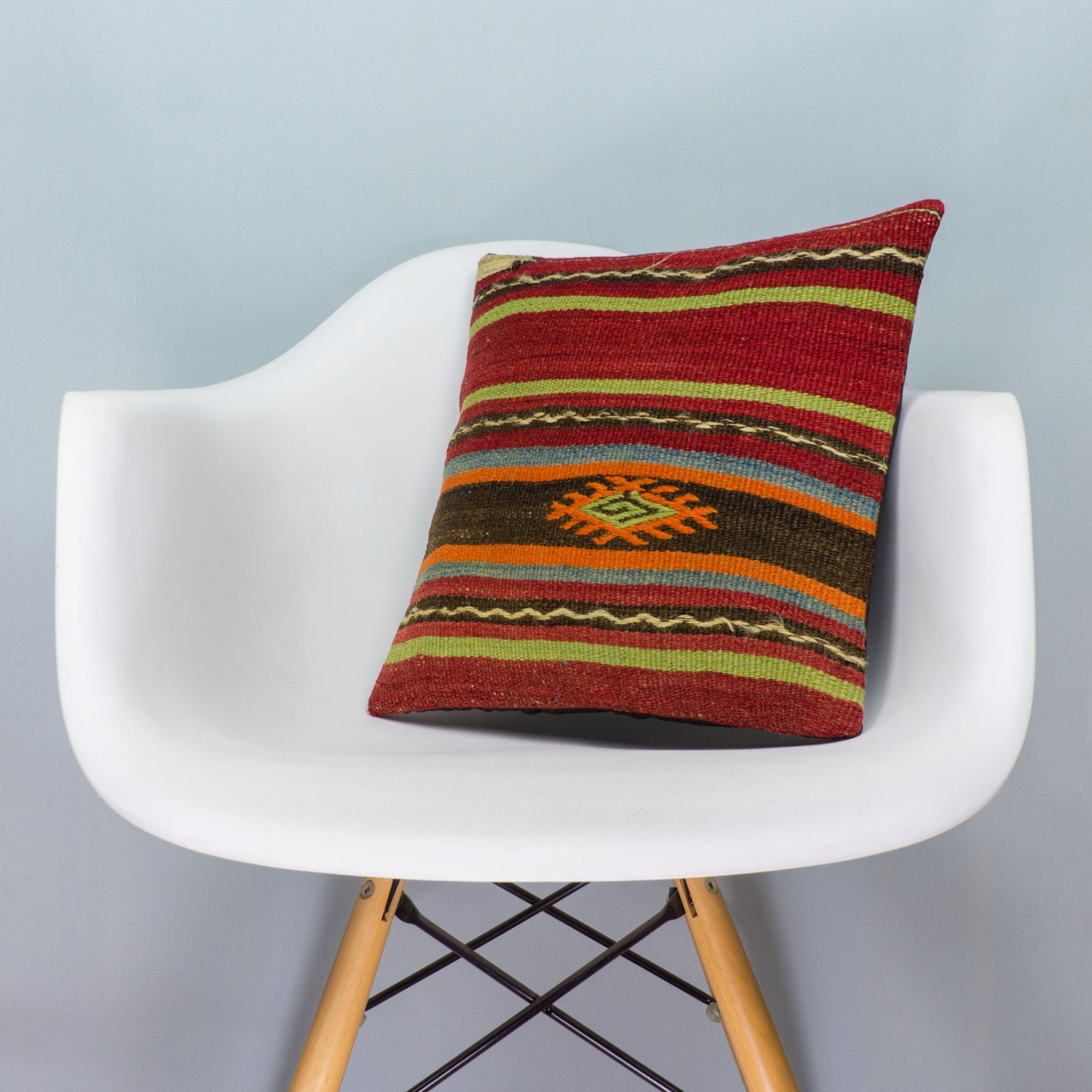 Striped Multi Color Kilim Pillow Cover 16x16 3518