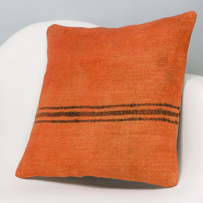 Striped Orange Kilim Pillow Cover 16x16 2981 - kilimpillowstore