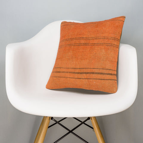 Striped Orange Kilim Pillow Cover 16x16 2983 - kilimpillowstore