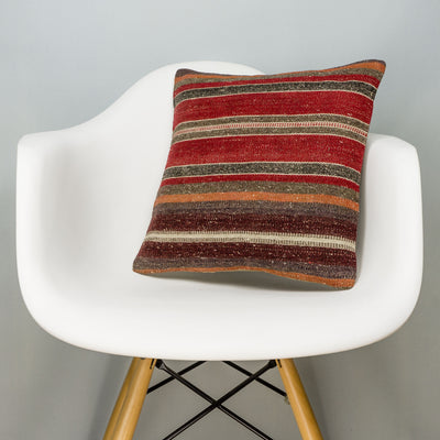 Striped Red Kilim Pillow Cover 16x16 2825 - kilimpillowstore