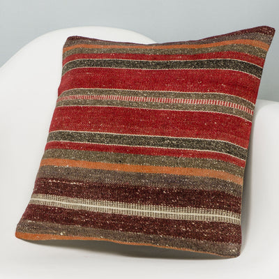 Striped Red Kilim Pillow Cover 16x16 2827 - kilimpillowstore