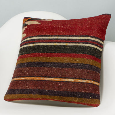 Striped Red Kilim Pillow Cover 16x16 2830 - kilimpillowstore